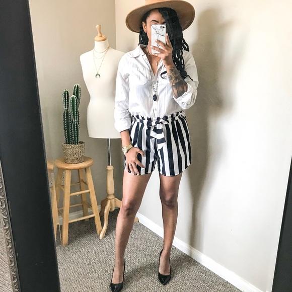 Pants - Black + White Striped Shorts